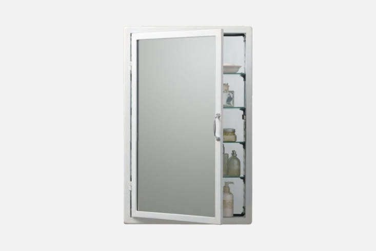 The Restoration Hardware Pharmacy Wall-Mount Medicine Cabinet (my personal pick) is modeled after a th century pharmacy cabinet and made of steel and glass shelves (with a mirror inside as well); $5 to $7 and available in White, Burnished Steel, and Black at Restoration Hardware.