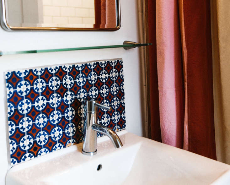 Just a few bold tiles from Etsy shop Reeso Tiles make a big impact in an ensuite bathroom.