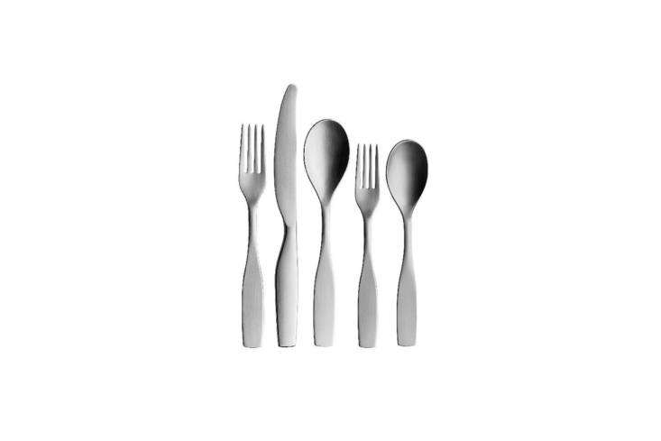 The Citterio 98 5-Piece Place Setting is part of the 98 collection by Italian designer Antonio Citterio for Iittala. Each piece is intended to rest neatly in the palm of the hand while in use; $85 for the set at YLiving.