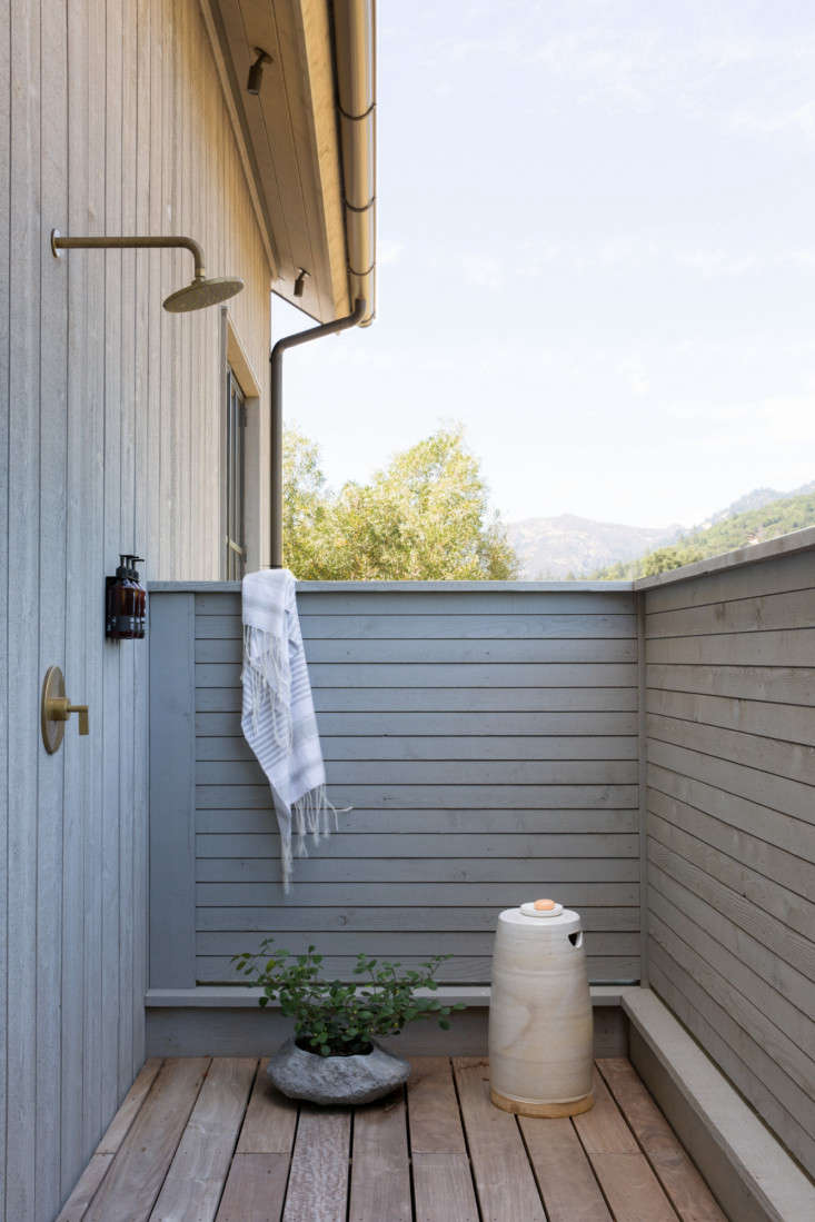 Just off of the master bathroom is a private outdoor shower, with half-walls, so &#8