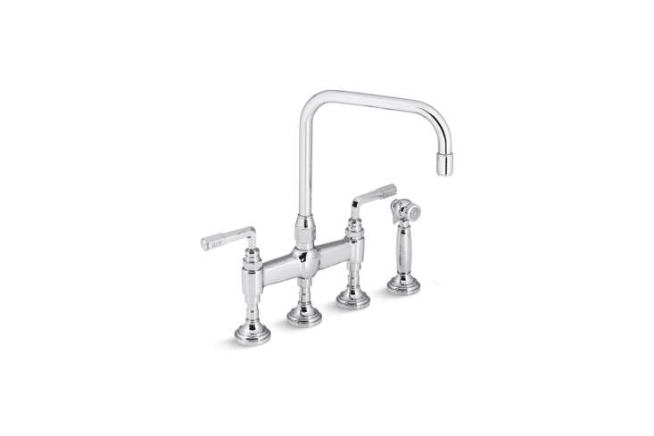 The robust Kallista For Town Kitchen Faucet with Sidespray designed by Michael S Smith is available in three finishes starting at $3,745 from Kallista.