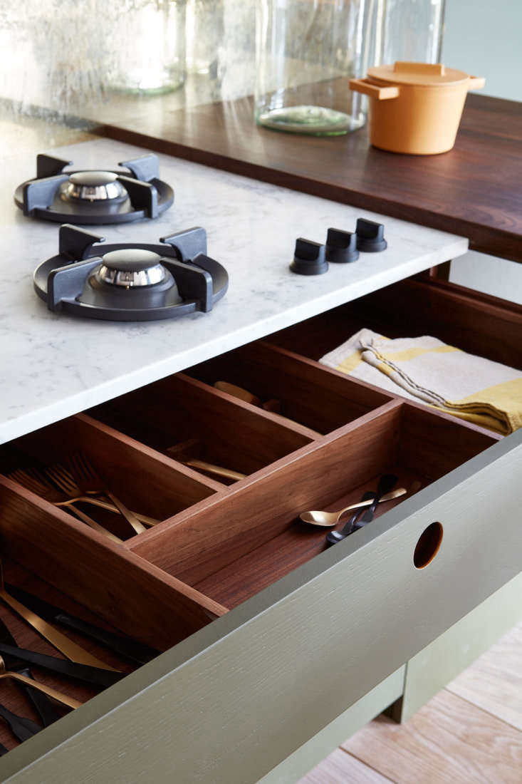wooden cutlery drawer in the ladbroke kitchen by naked kitchens, norfolk, engla 13