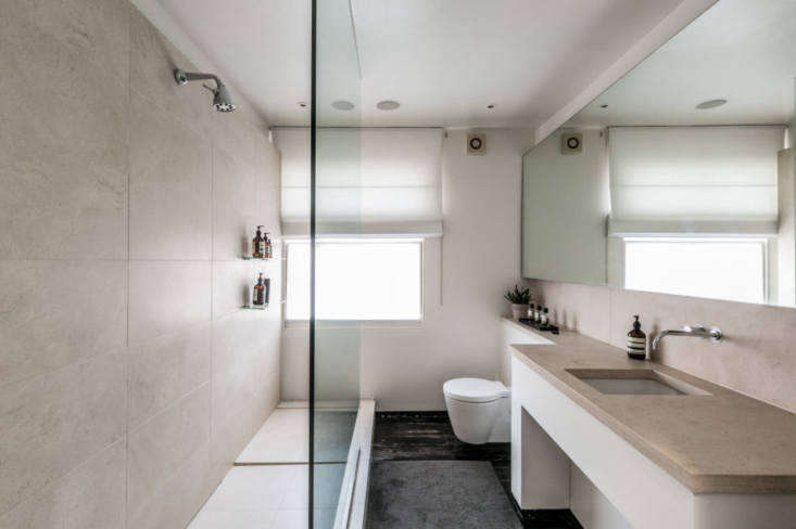 a narrow bathroom on this floor means no room for a soaking tub. instead, a lim 21
