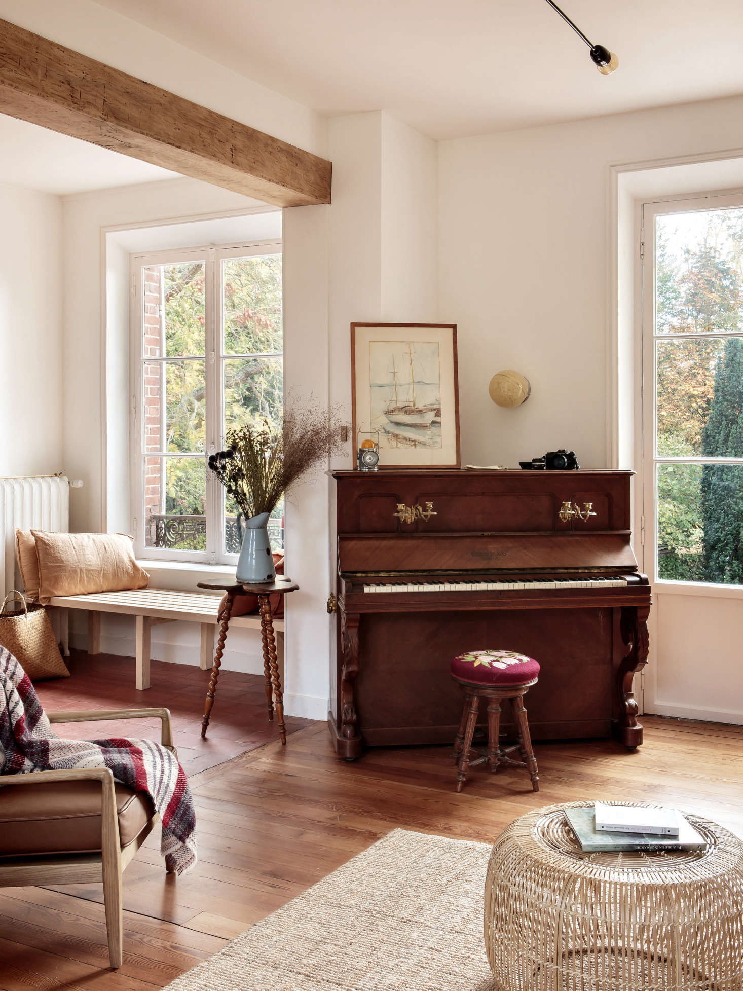 The house had been last occupied in the 70s and was left furnished. Feilders kept the best pieces, including this piano, a 0-year-old Gabriel Gavreau (&#8