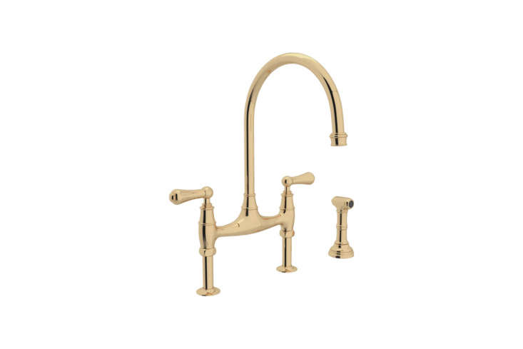Similar to the Perrin & Rowe faucet featured at top but with a straighter base, the Rohl (U.47L-EB-