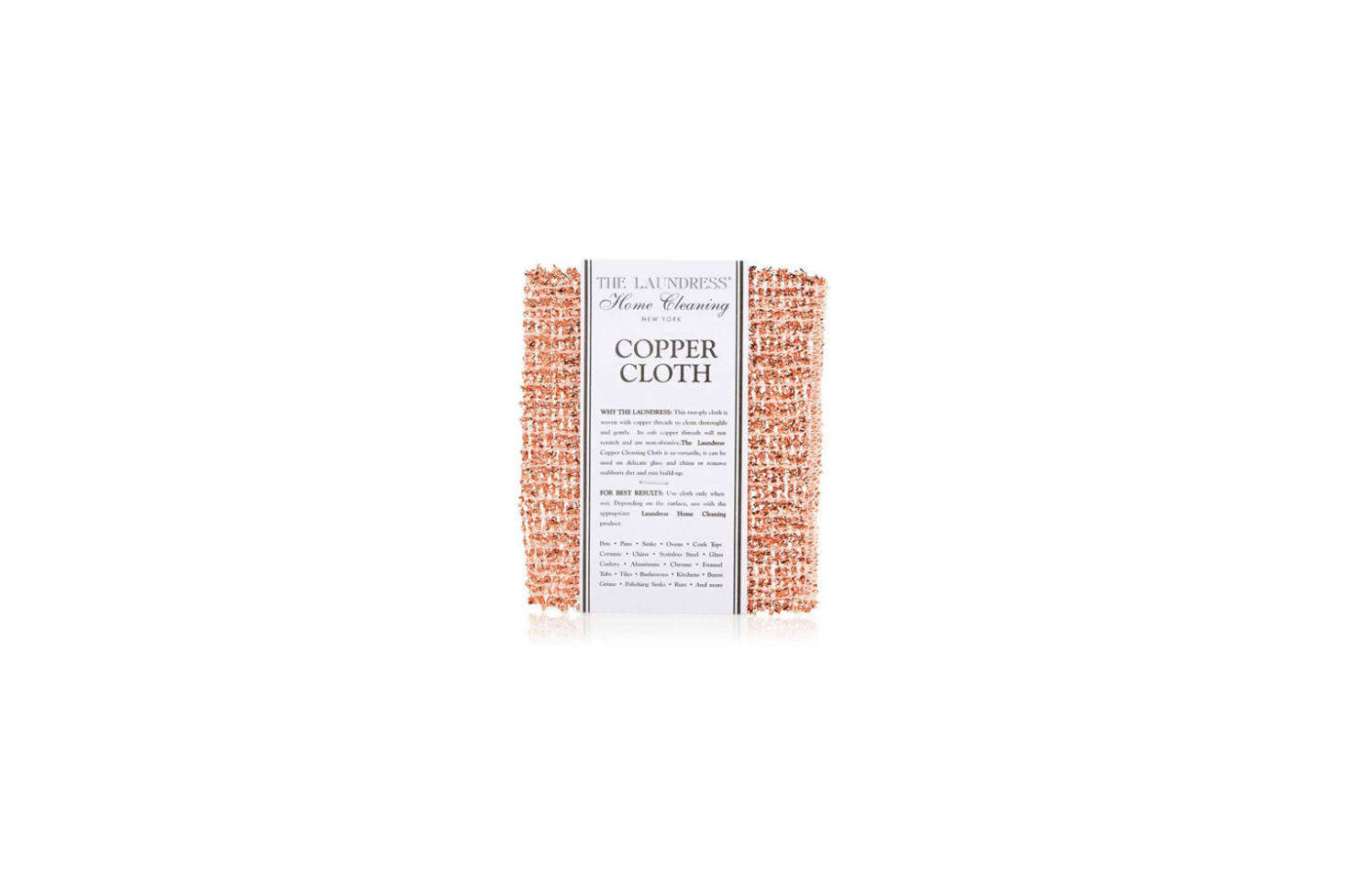 From The Laundress, the classic Copper Cleaning Cloth is $. on Amazon Prime.