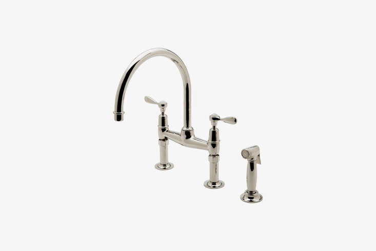 Favored among architects (see our post  Easy Pieces: Architects' Go-To Traditional Kitchen Faucets), the Waterworks Easton Classic Two-Hole Bridge Faucet is available in  different finishes for $
