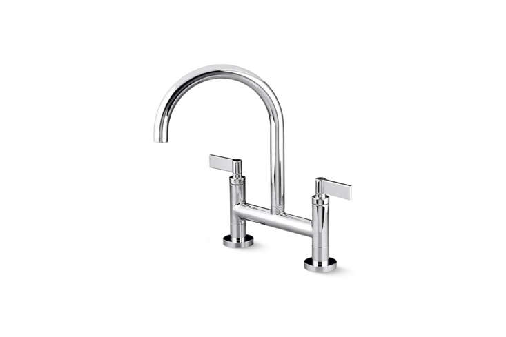 10 Easy Pieces Modern Bridge Faucets The Kallista One Deck Mount Bridge Kitchen Faucet Lever Handles is shown in Chrome and also comes in Nickel Silver, Brushed Nickel, Gunmetal, and Unlacquered Brass; \$\1,735 at Kallista.