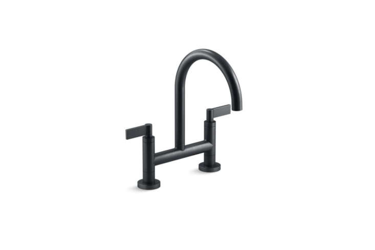 10 Easy Pieces Modern Bridge Faucets The Kohler Purist Two Hole Deck Mount Bridge Kitchen Sink Faucet comes in Matte Black (shown), Vibrant Stainless, Vibrant Polished Nickel, and Polished Chrome; \$73\2.48 at Kohler. You can spot the kitchen sink in our postsKitchen of the Week: A Luxe European Kitchen System, Charcuterie Included andSteal This Look: A Modern Country Kitchen in Hudson, New York.