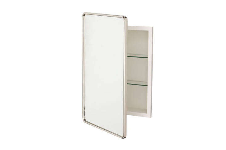 The Vintage Recessed Medicine Cabinet comes in five different finishes and has rounded corners; $9 to $379 at Pottery Barn.
