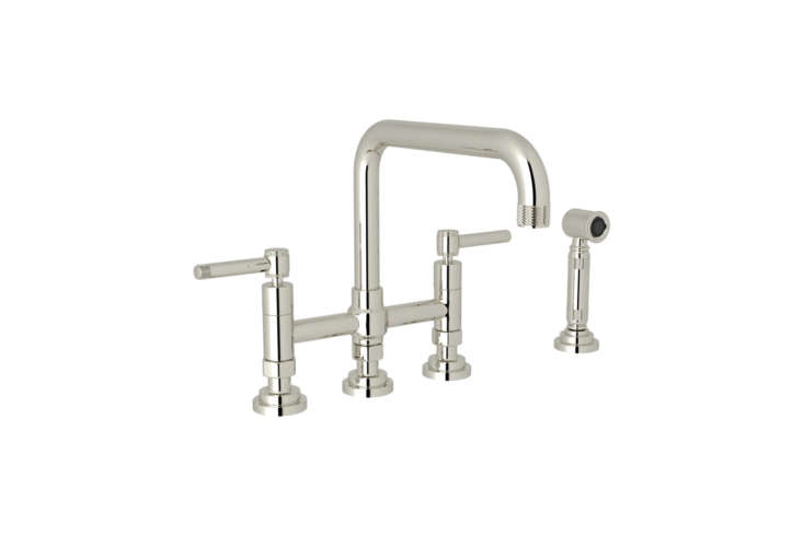 10 Easy Pieces Modern Bridge Faucets The Rohl Campo Three Leg Bridge Kitchen Faucet with Sidespray comes with lever or wheel handles and in seven different finishes; prices start at \$899.\25 from Quality Bath.