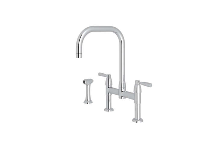 10 Easy Pieces Modern Bridge Faucets Seen here is theRohl Perrin & Rowe Holbron U Spout Bridge Kitchen Faucet with Sidespray and Metal Levers. It&#8\2\17;s available in Polished Chrome, English Bronze, English Gold, Polished Nickel, Satin Nickel, Unlacquered Brass starting at \$\1,606.50 at Kitchen & Bath Authority.
