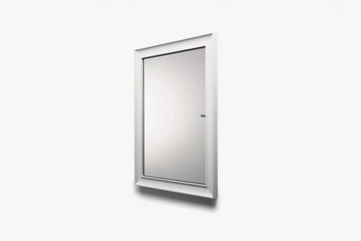 The Waterworks Modern Recessed Wood Medicine Cabinet comes in white-painted wood and chrome; $loading=