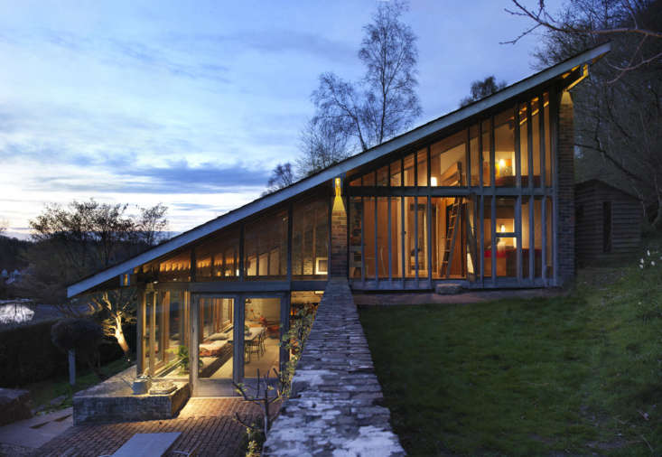 note the pitch of the douglas fir roof, which mimics the slope of the hill. the 9