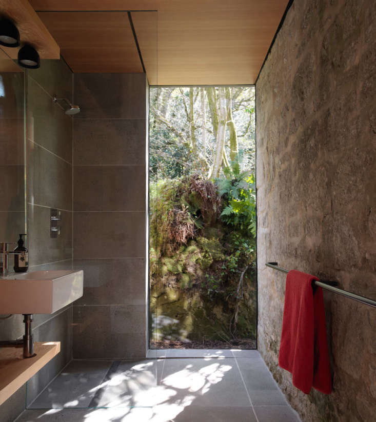 a bathroom, with a lush view, was added to the studio. 17