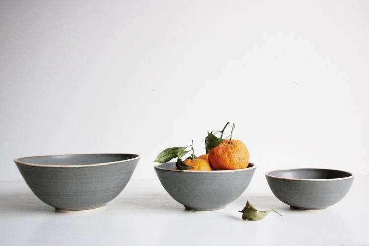 the hand thrown silverlake nesting bowl set comes in four colors: serenity blue 12