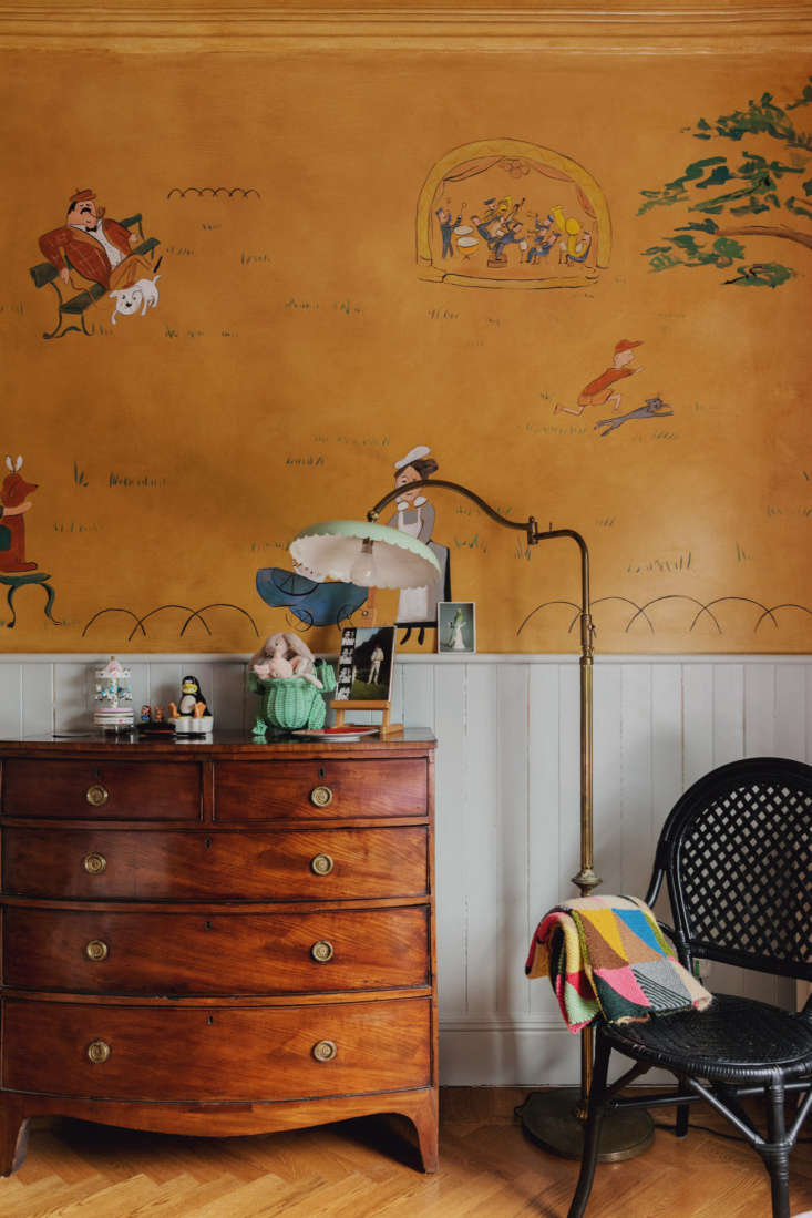 The mural in the room was inspired by Ludwig Bemelmans's murals at New York City's Carlyle hotel.