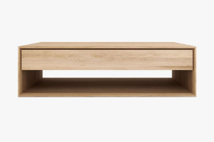 The Ethnicraft Nordic Coffee Table features a single storage drawer; $loading=