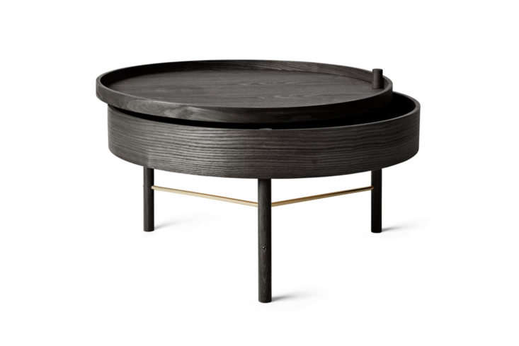 The Menu Turning Coffee Table comes in Black Ash (shown) and White Oak for $630 at Lekker Home.