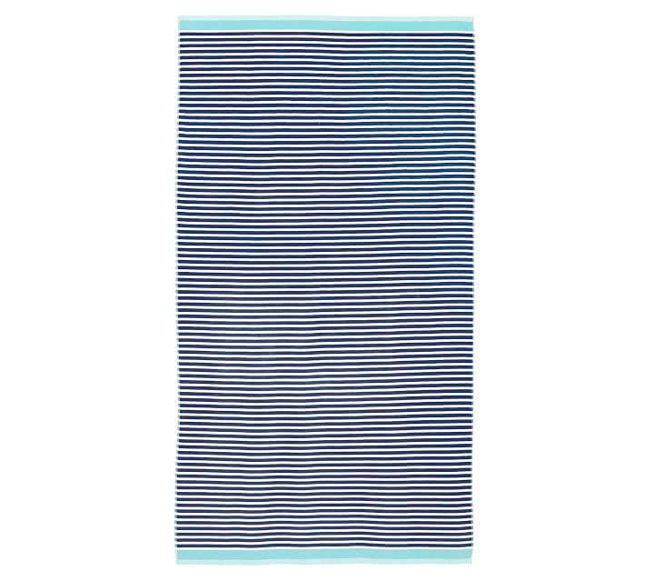 The cotton Mini Stripe Beach Towel (shown above in navy and seabreeze) is on sale for $ (down from $39.50) at Pottery Barn. It&#8