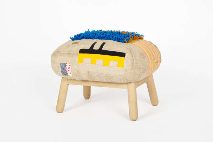 pogue has also created ottomans, stuffed with down feathers atop oak legs, for  11