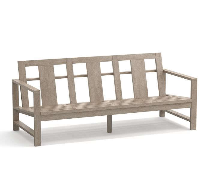 pottery barn wood outdoor couch