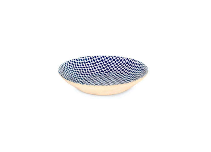ban has several blue serving bowls on display. this \16 inch wide centerpiece b 12