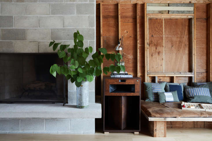 The lobby is housed in a 60s ranch home that was stripped down to the studs.