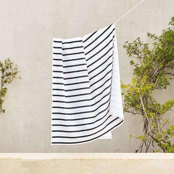 white company striped beach towel