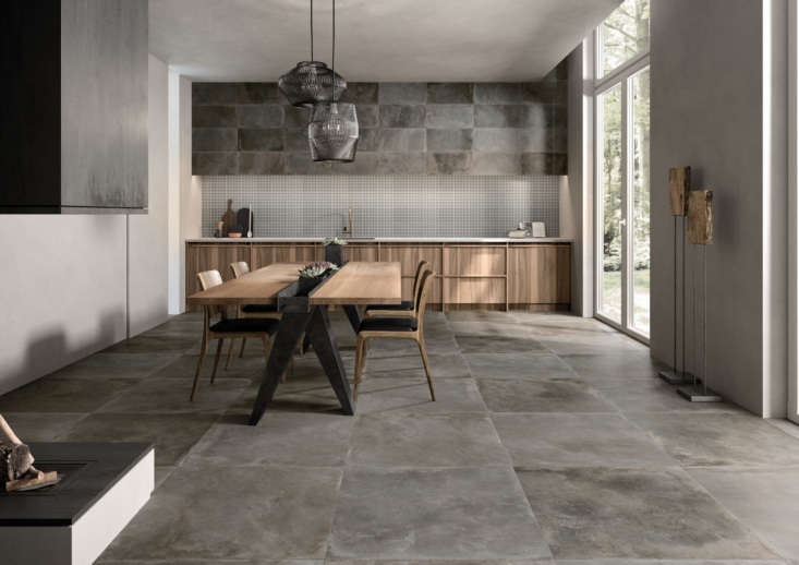 The Cocoontile by Ricchetti has the look of a concrete floor, but is actually porcelain stoneware.