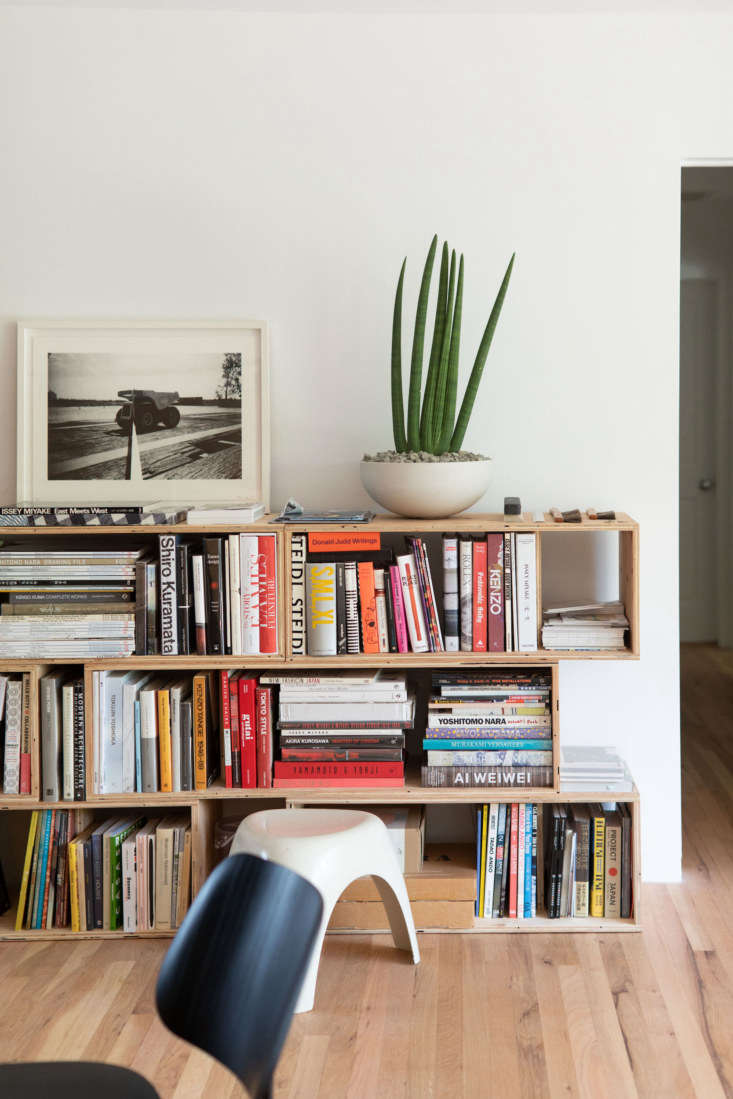 A plywood bookcase filled with art books.