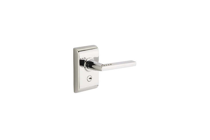 The Emtek (E60US) Electronic Keypad Lever Setcomes in Polished Chrome (shown), Oil-rubbed Bronze, and Satin Nickel and with a range of interior lever styles. The set is a LISCIO electronic door lever and is integrated neatly, and inconspicuously, into the door lever itself. It&#8