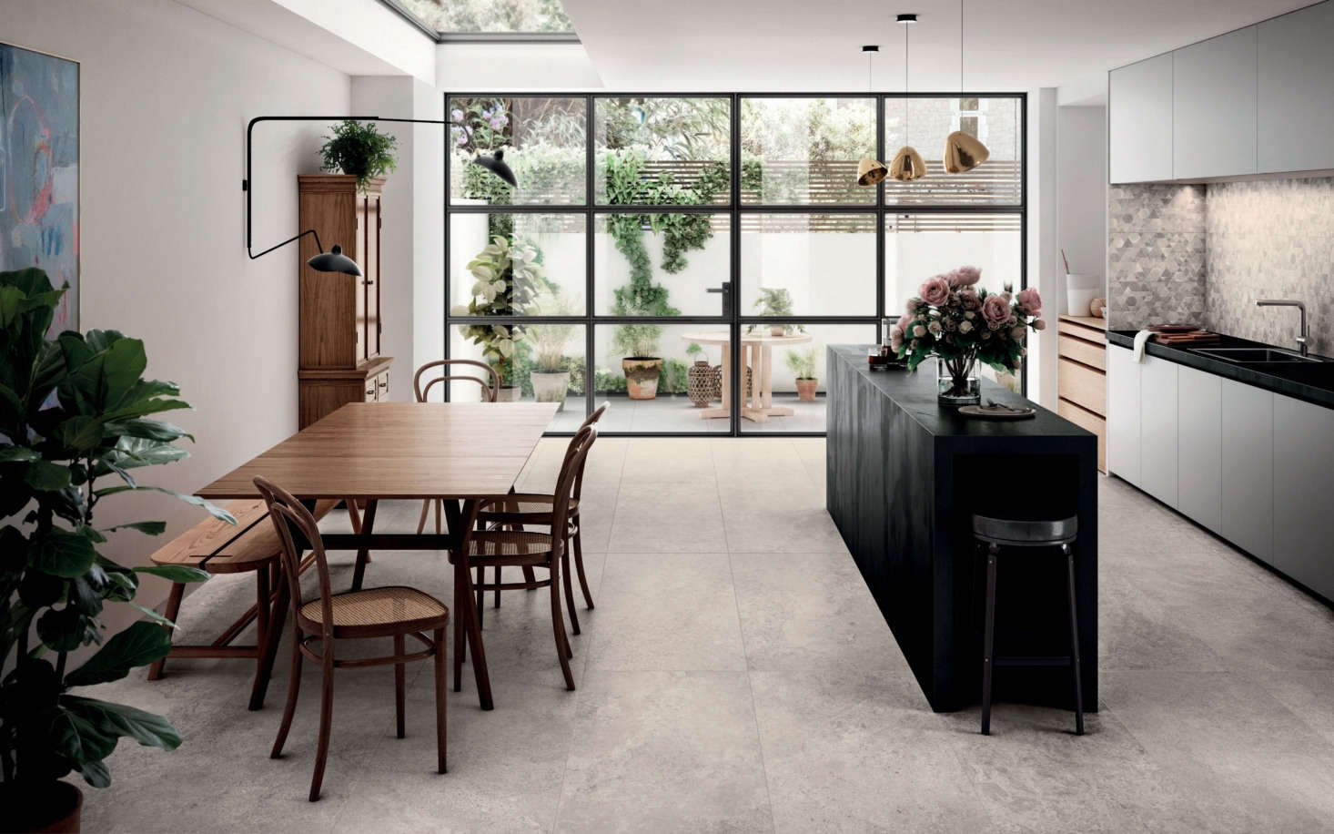 The natural-looking Freedomtile, designed by Ceramiche Piemme to look like Hauteville limestone, is actually the product of modern digital technologies, and is available in 3D iterations for wall applications as well.