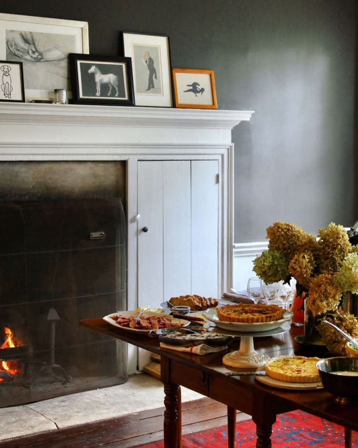 The breakfast spread in the dining room, where the walls are painted Benjamin Moore&#8