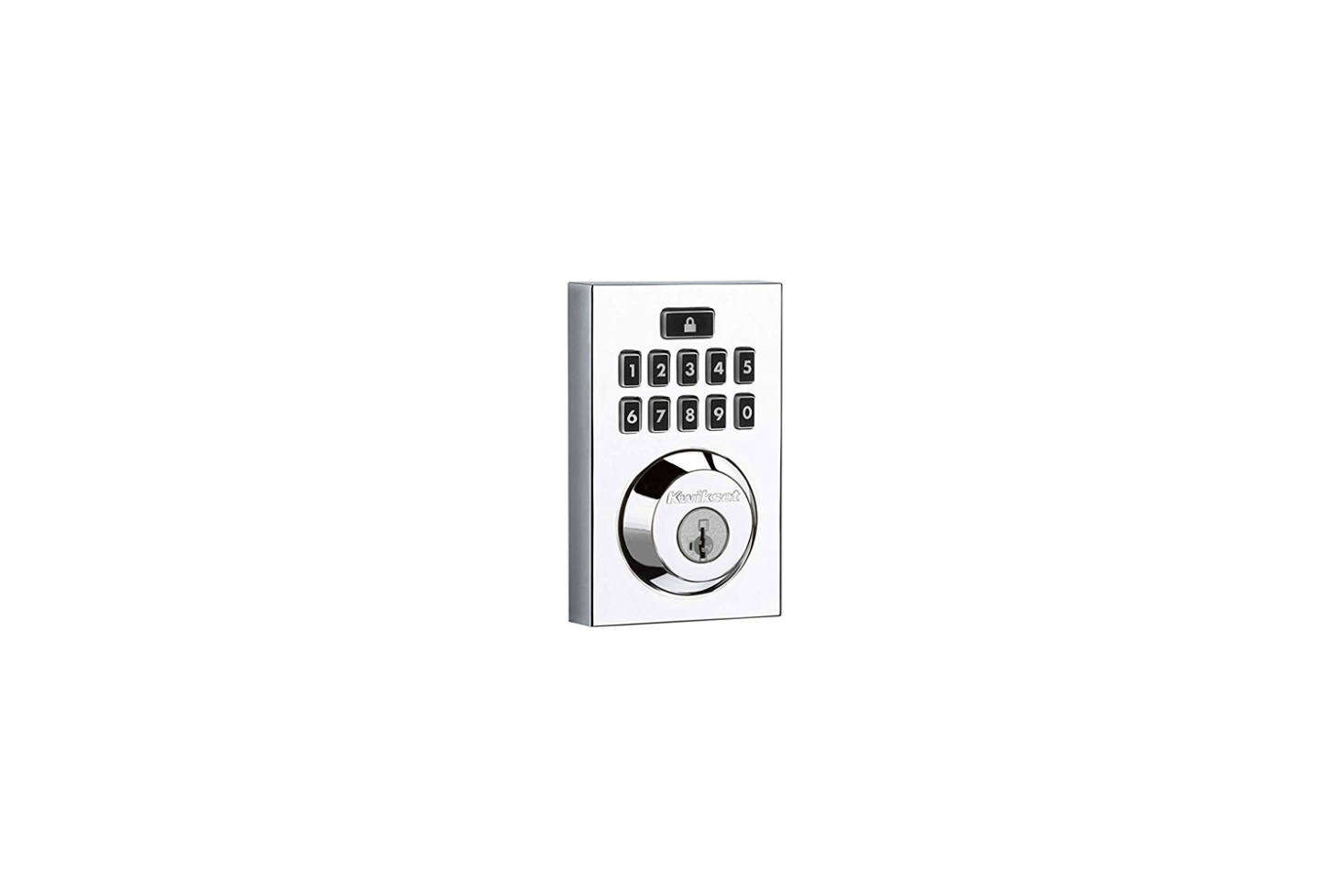 The Kwiset Smartcode 9 Contemporary Electronic Deadbolt Featuring Smartkey comes in Polished Chrome, Satin Nickel, or Venetian Bronze and can be programmed with up to  different user codes; $src=