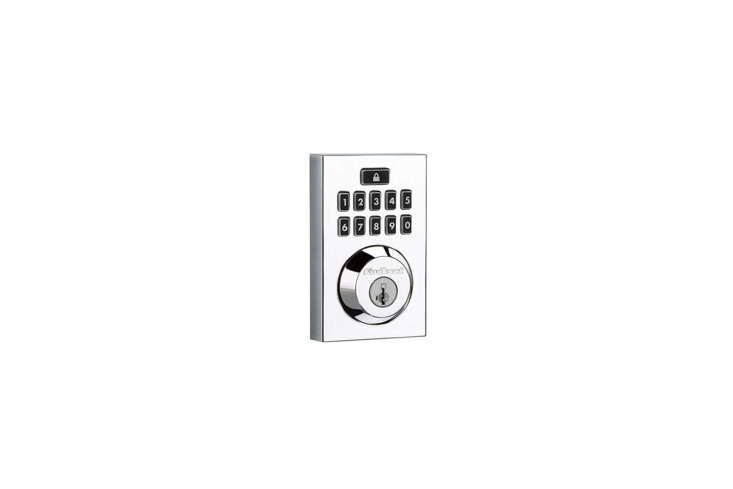 The Kwiset Smartcode 9 Contemporary Electronic Deadbolt Featuring Smartkey comes in Polished Chrome, Satin Nickel, or Venetian Bronze and can be programmed with up to  different user codes; $loading=