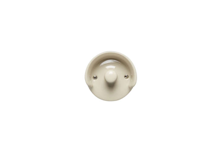the massproductions a0\1 wall hook in white, off white, or grey vitreous porcel 11