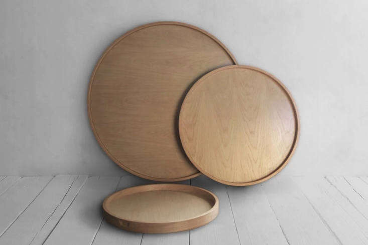The Nickey Kehoe Round Wooden Trays are handmade of oak in Los Angeles and come in sizes Small ($375), Medium ($500), and Large ($650).