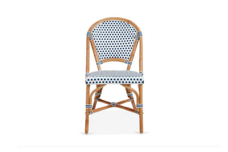 10 Easy Pieces French Bistro Chairs High to Low The Chloe Bistro Side Chair has a rattan frame and weatherproof cording (we like the striped banding); it&#8\2\17;s \$\240 from One Kings Lane, which also offers a range of other bistro chairs.