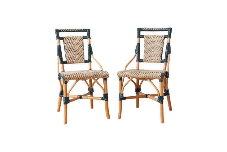 10 Easy Pieces French Bistro Chairs High to Low Currently available on Etsy from SF based vintage dealer Erin Lane Estate: a pair of \1990sPalacek Bamboo Rattan Bistro Chairs; \$800.