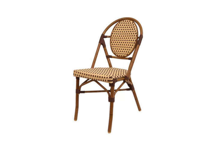 10 Easy Pieces French Bistro Chairs High to Low Designed for use outdoors, the Paris Cafe Patio Dining Chair has an aluminum frame finished with UV resistant synthetic fiber. It&#8\2\17;s currently on sale at Perigold for \$\169, marked down from \$\190.