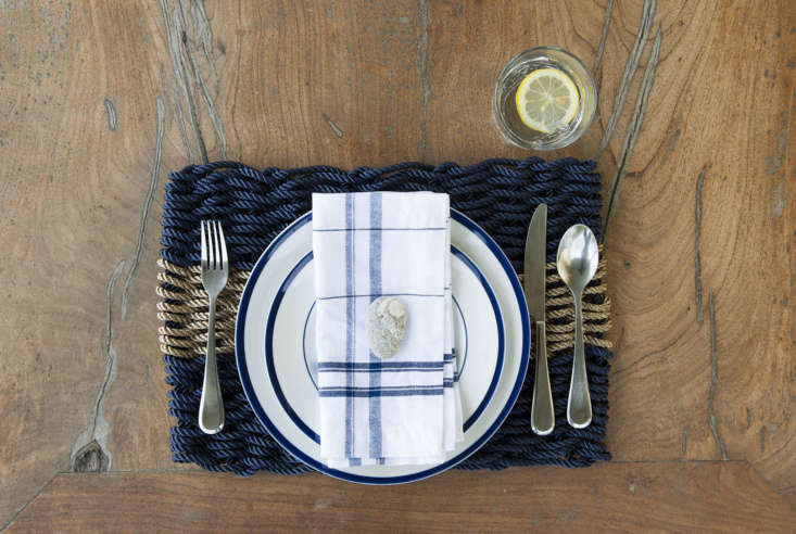 The site also sells good-looking key chains and placemats—all made from the same rope that lobstermen use. A set of 4 Navy with Oak Stripe Placemats is $loading=