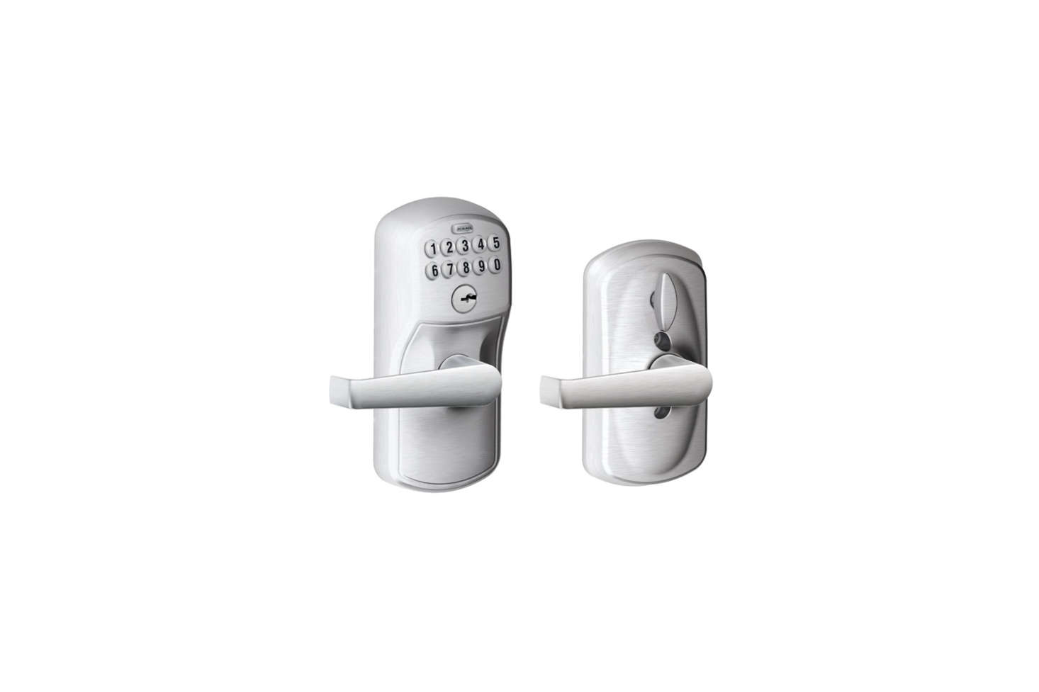 The Schlage (FE595VPLY6ELA) Plymouth Keypad Entry with Flex-Lock and Elan Style Levers comes in Brushed Chrome, shown, with an illuminated keypad. Codes can be added or deleted with the lock&#8