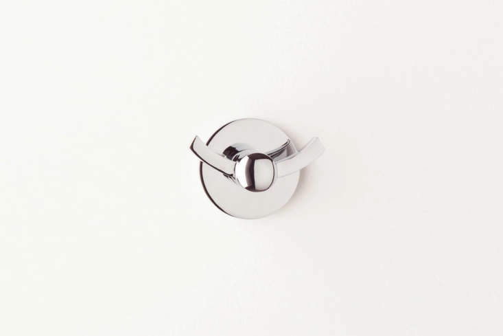 The Schoolhouse Maxwell Robe Hook is $40 each. Schoolhouse offers other finishes in addition to the Polished Nickel shown here.