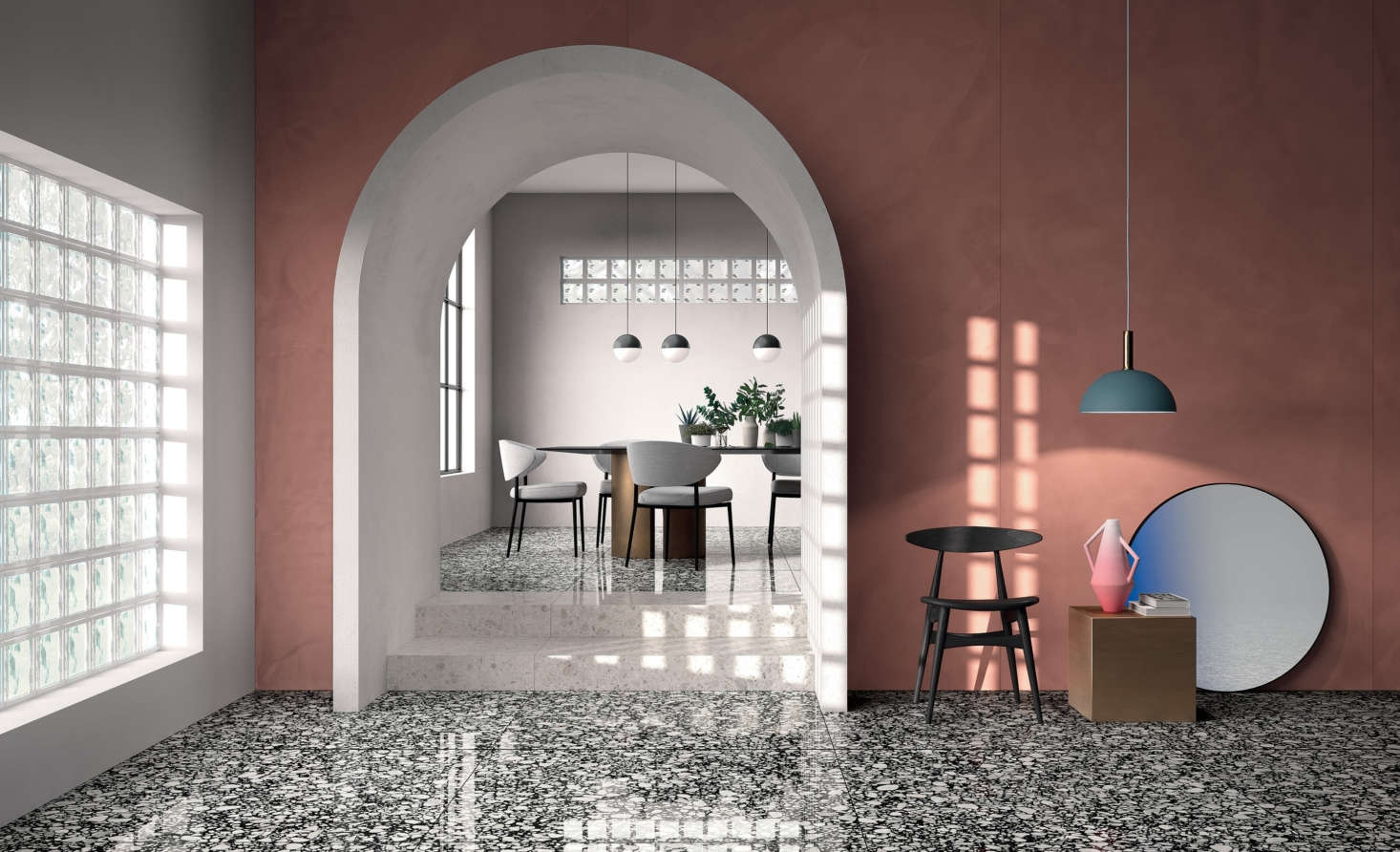Shards, a porcelain stoneware tile collection by Fondovalle, is a riff on classic Italian terrazzo. The manufacturers used digital printing technology to replicate the look of marble and stone chips set into concrete.