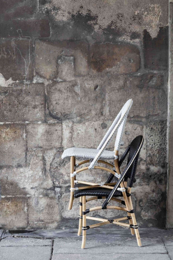 10 Easy Pieces French Bistro Chairs High to Low After hours in Paris cafés, bistro chairs get piled in tall stacks. Shown here, the Sofie Side Chair in two of its seven color combinations; \$340 each from Sika Design.