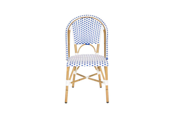 10 Easy Pieces French Bistro Chairs High to Low A variation on a common theme, the Salcha Indoor Outdoor French Bistro Stacking Side Chair comes in five colors at Target; \$349.99 for a pair. It&#8\2\17;s made by Safavieh, which also supplies the same or similar designs to Home Depot, Wayfair, Overstock, and others.