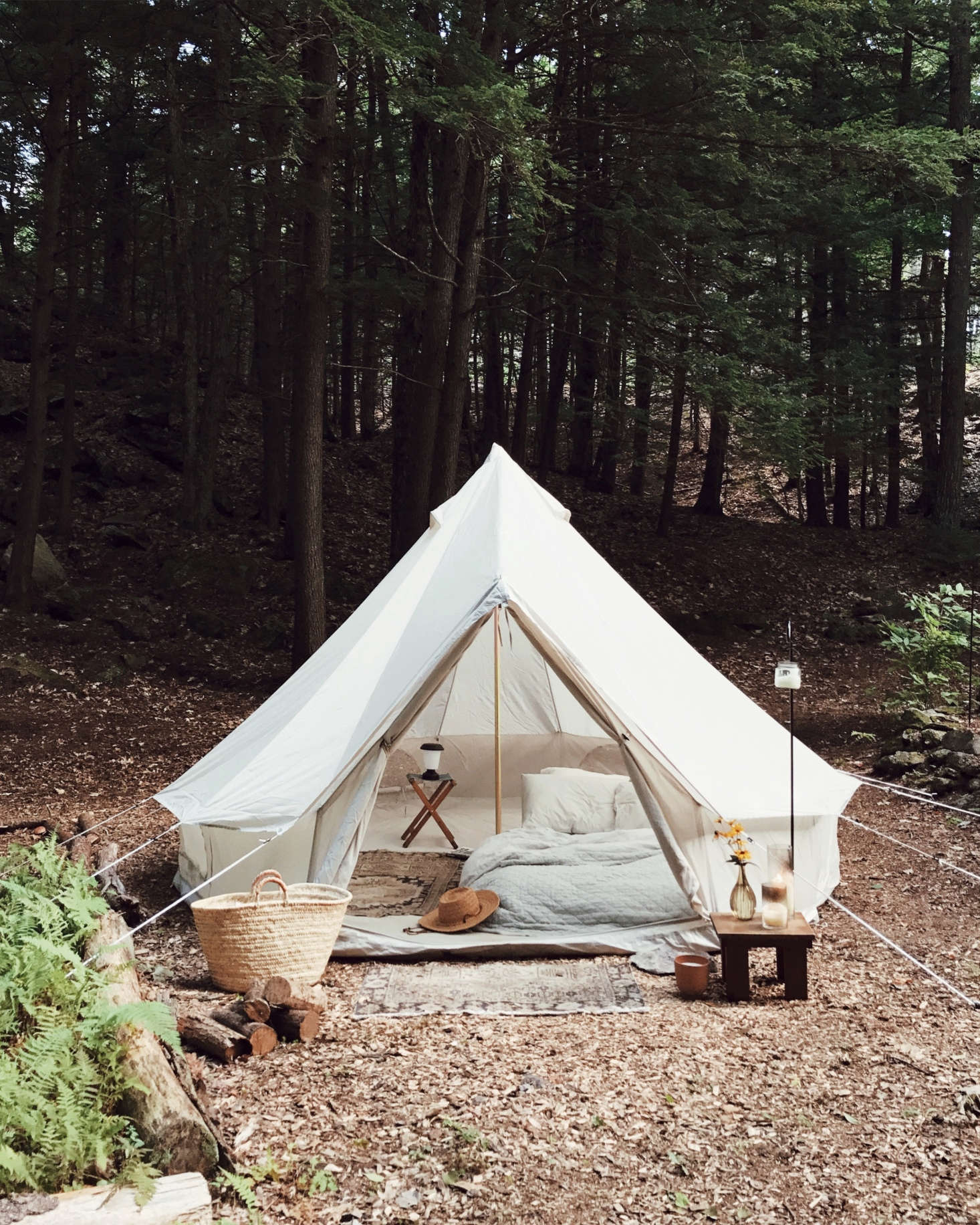 Nearby is a lushly outfitted bell tent, which the couple uses as extra lodgings when friends come to stay. (It&#8