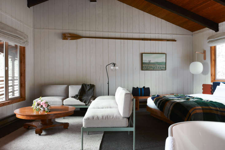 Across the street are  suites, each with a private bathroom and lagoon views. This part of the inn was added in the 70s. The lagoon rooms feature custom furniture by John Gnorski, cashmere goat hair carpeting, and hand-woven blankets by Hannah Ruth Levi.