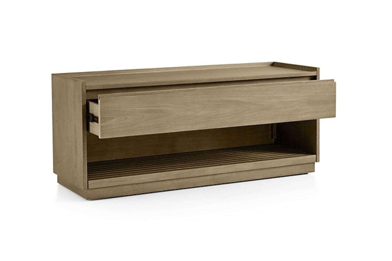 The Batten Storage Bench is made of oak veneer; $599 at Crate & Barrel.